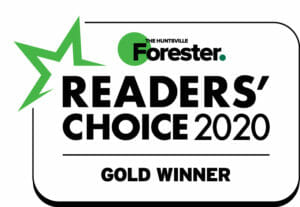 The Huntsville Forester Readers Choice 2020 gold winner logo