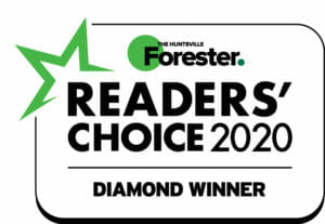 The Huntsville Forester Readers Choice 2020 diamond winner logo