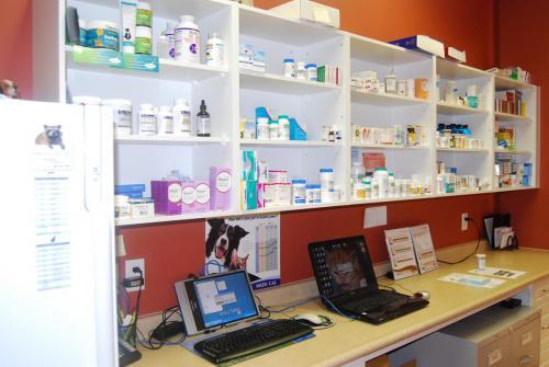 Medication shelves and counter at muskoka animal hospital